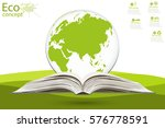 globe on opened book. the... | Shutterstock .eps vector #576778591
