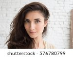 beautiful woman girl natural... | Shutterstock . vector #576780799