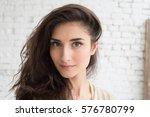 beautiful woman girl natural... | Shutterstock . vector #576780799