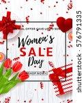flyer for women's day sale. top ... | Shutterstock .eps vector #576791335