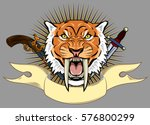 portrait of a grin  the saber... | Shutterstock .eps vector #576800299