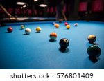 Small photo of 8 Ball from pool or billiards on a billiard table