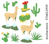 set with alpaca   south america'... | Shutterstock .eps vector #576812959