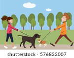 people walking with dogs vector ... | Shutterstock .eps vector #576822007