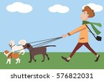 man walking with dogs vector... | Shutterstock .eps vector #576822031