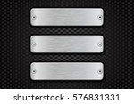 metal brushed plate with rivets ... | Shutterstock .eps vector #576831331