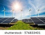 photo collage of solar panels...   Shutterstock . vector #576833401