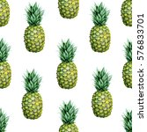 seamless watercolor fruit... | Shutterstock . vector #576833701