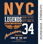 vintage vector airplane ... | Shutterstock .eps vector #576836191