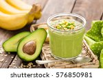 avocado and banana smoothie... | Shutterstock . vector #576850981