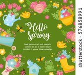hello spring greeting card.... | Shutterstock .eps vector #576858991