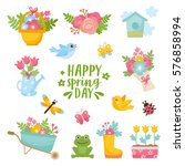 hello spring greeting card.... | Shutterstock .eps vector #576858994