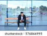 entrepreneur smiling man  puts... | Shutterstock . vector #576866995