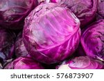 Purple Cabbages Stacked At A...