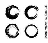 set of black grunge circle... | Shutterstock .eps vector #576880231