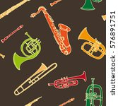 brass musical instruments. hand ...