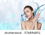 beautiful model spa woman with... | Shutterstock . vector #576896851