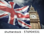 flags of uk and eu combined... | Shutterstock . vector #576904531