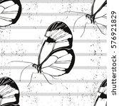beautiful silhouette butterfly... | Shutterstock .eps vector #576921829