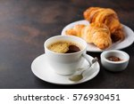 Coffee White Cup  Croissants O...