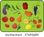 icon set of fresh fruits and...   Shutterstock .eps vector #57693685