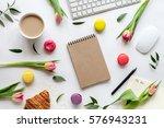 white desk with flowers ... | Shutterstock . vector #576943231