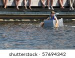 GRAVENHURST, ONTARIO, CANADA - JULY 10: Young participant in the Cardboard boat race during the annual Clssic Boat Show July 10, 2010 in Gravenhurst,Ontario,Canada - stock photo