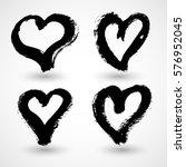 set of grunge hearts. vector... | Shutterstock .eps vector #576952045