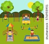playground with children. set.... | Shutterstock .eps vector #576955951