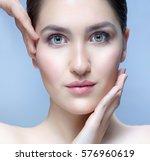 closeup portrait of attractive... | Shutterstock . vector #576960619