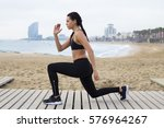 young woman with sportive... | Shutterstock . vector #576964267