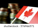 canada flag waving with stack... | Shutterstock . vector #576966571