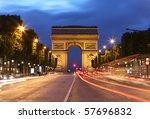 arc de triomphe and light trails | Shutterstock . vector #57696832