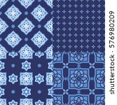 portuguese azulejo tiles. blue... | Shutterstock .eps vector #576980209