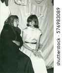 Small photo of THE CZECHOSLOVAK SOCIALIST REPUBLIC - CIRCA 1970s: Retro photo shows amateur actresses during theatre performance. Vintage photography.