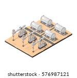 isometric vector oil derricks... | Shutterstock .eps vector #576987121