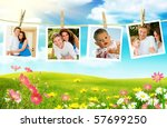 family photos hanging over... | Shutterstock . vector #57699250