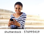 portrait of smiling young woman ... | Shutterstock . vector #576995419