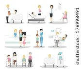 children in hospital set.... | Shutterstock .eps vector #576998491