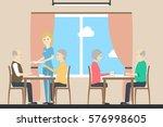 eating at nursing home.seniors...   Shutterstock .eps vector #576998605