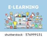 e learning concept illustration.... | Shutterstock .eps vector #576999151
