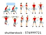 arms workout set on white... | Shutterstock .eps vector #576999721