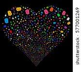 baht fireworks with heart shape.... | Shutterstock .eps vector #577001269
