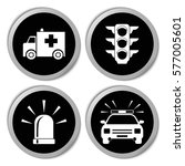 transportation icons  police... | Shutterstock .eps vector #577005601
