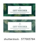 gift voucher leaf  green color... | Shutterstock .eps vector #577005784
