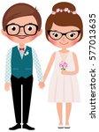 hipsters happy bride and groom... | Shutterstock . vector #577013635