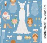 wedding cartoon bride icons... | Shutterstock .eps vector #577034671