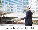 industrial engineer standing in ... | Shutterstock . vector #577034881