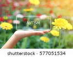 autism word on the white box.... | Shutterstock . vector #577051534