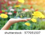 healthy lifestyle word on the... | Shutterstock . vector #577051537